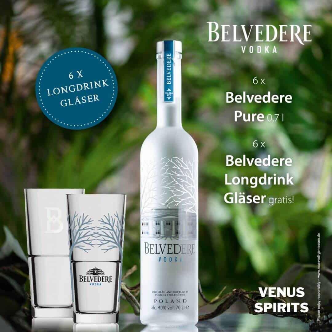 Belvedere Vodka mit Gläser